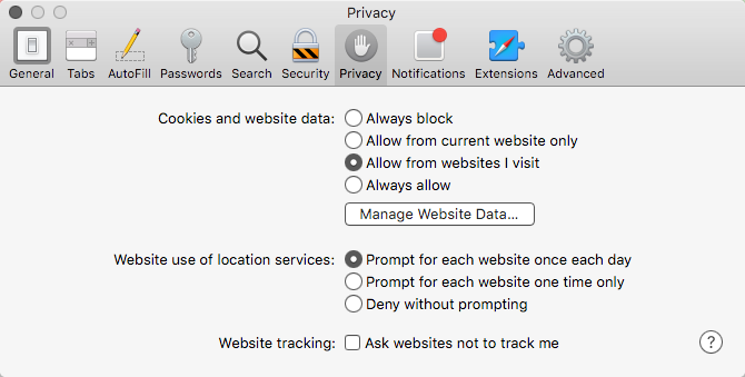 OSX Safari Privacy settings to allow cookies at third-party sites
