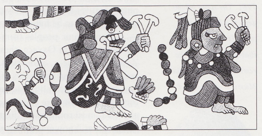 Mayan deities holding mushrooms