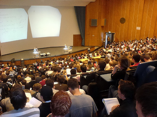Overcrowded lecture hall of a university