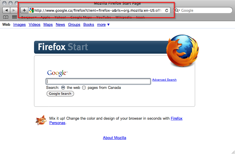 Highlighted at the top of this web browser is the location of the URL.