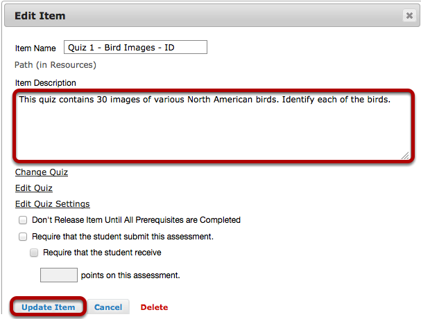 Image:Add a description for the assessment, then click Update Item.png