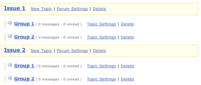 One way to organize the Forums tool for group work is to create a forum for each issue or theme and a topic for each group.  This is approach makes it easier to lock older areas.