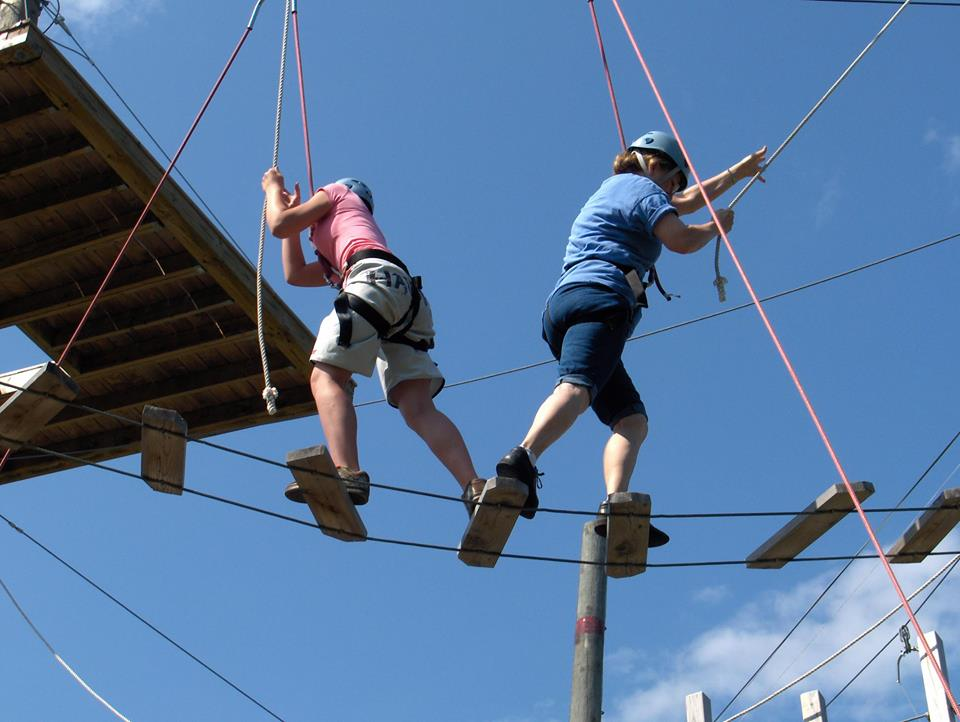 High ropes course is a great way to incorporate teamwork, communication, and a little fear.Photo taken by Marina Rose.