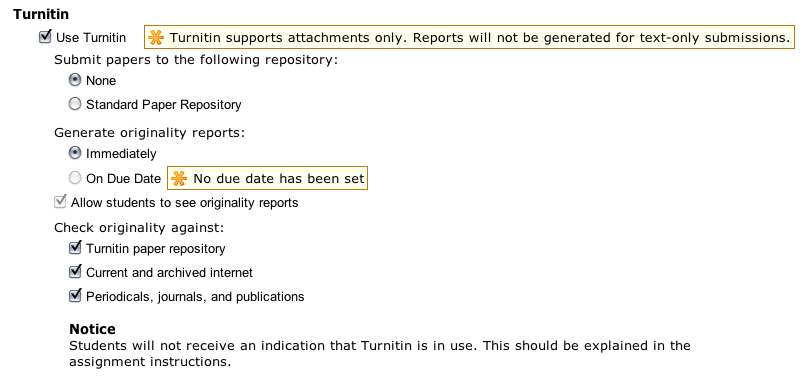 Turnitin options presented when creating an assignment