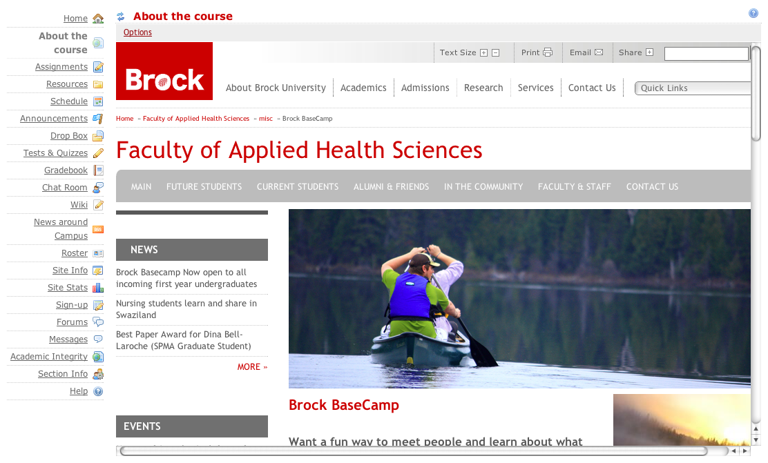 "Example of a ""Web Content"" tool that links to Brock University course description."