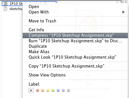 Mac OS X: Example of right-clicking a file in the Finder to compress it.