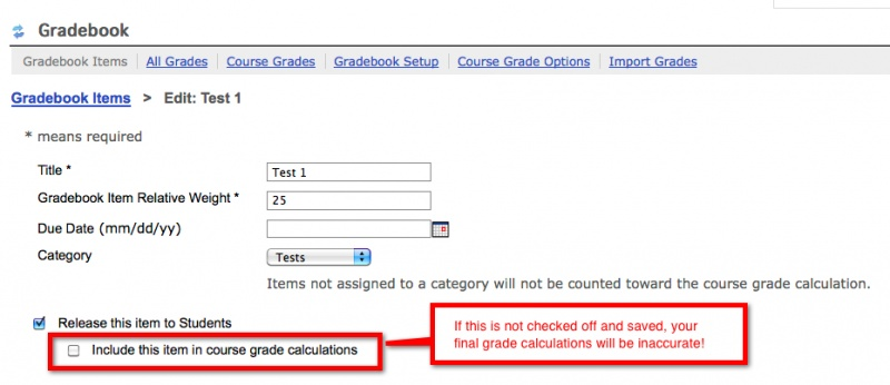 Figure 1:  Include in course grade calculations checkbox