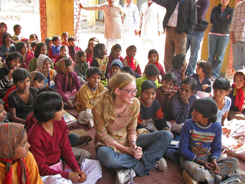 Volunteer work done abroad in India.