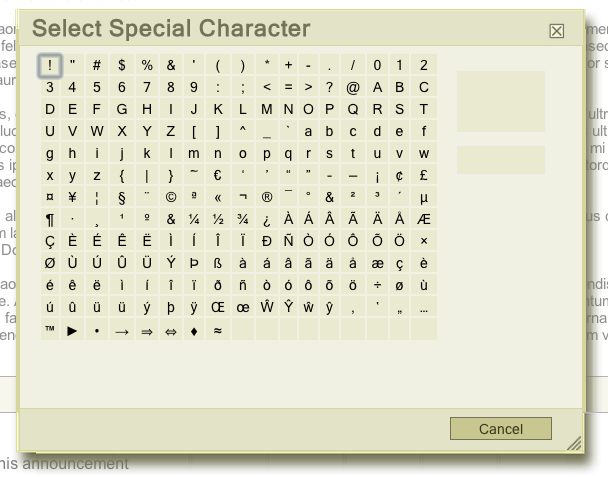 Select Special Character dialog window in CKEditor