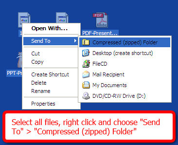 Windows XP: Right click the file in Windows Explorer/the desktop and select Send To > Compressed (zipped) File/Folder.