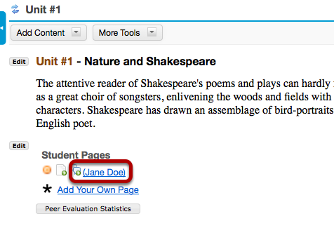 Image:To view a student's page, click on the student's name.png