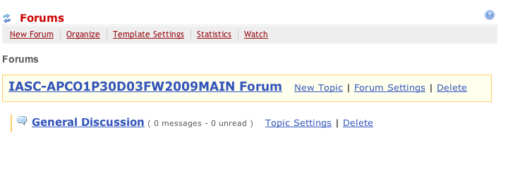 Default Forum and Topic layout when the Forums tool is first enabled in a course.  This should be enough for courses with little discussion.