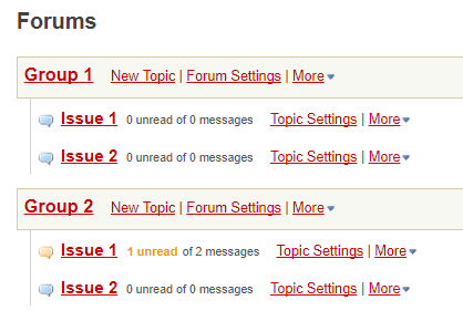Forum example with two topics