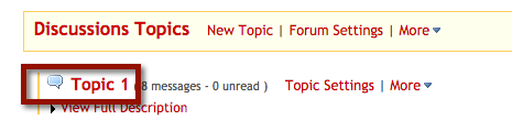 Note: The message indicator text next to the topic title will tell you how many messages have been posted within that topic, and how many of them are new or unread.