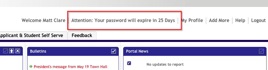 If you access the https://my.brocku.ca portal you will be alerted when your password is about to expire.