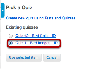 Image:Select the assessment from the list of existing quizzes.png