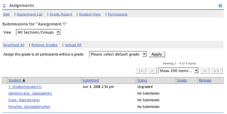 Instructor View of Submitted Assignments