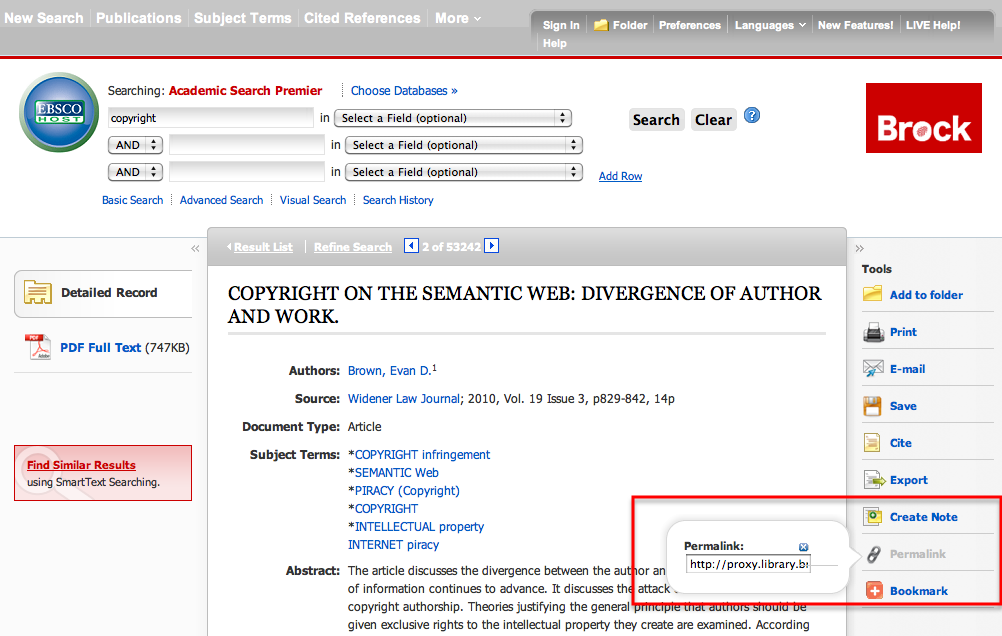 Example of a persistent link: EBESCO hosted journal example: Academic Search Premier