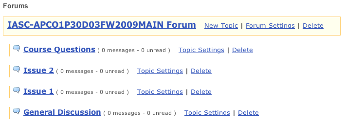 Example of a simple course with only a few topics all within the default Forum.  This example is fast to create and easy to administer when there only a few topics involved.