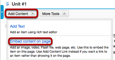 Image:Click Add Content, then Embed Content on a Page.png