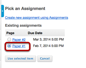 Image:Select the assignment from the list of existing assignments.png