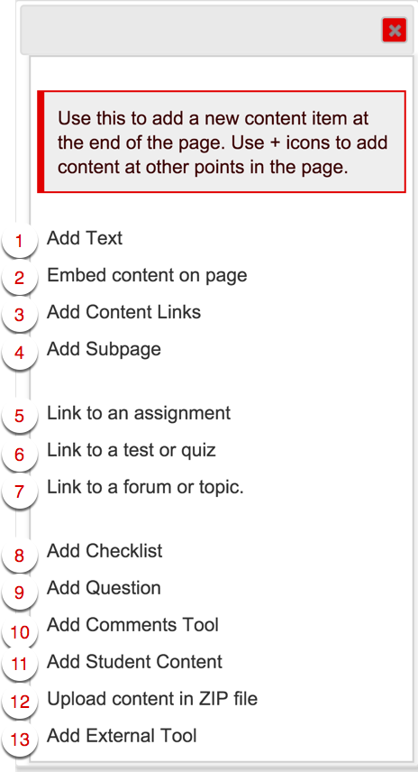 Adding content to the Lessons tool