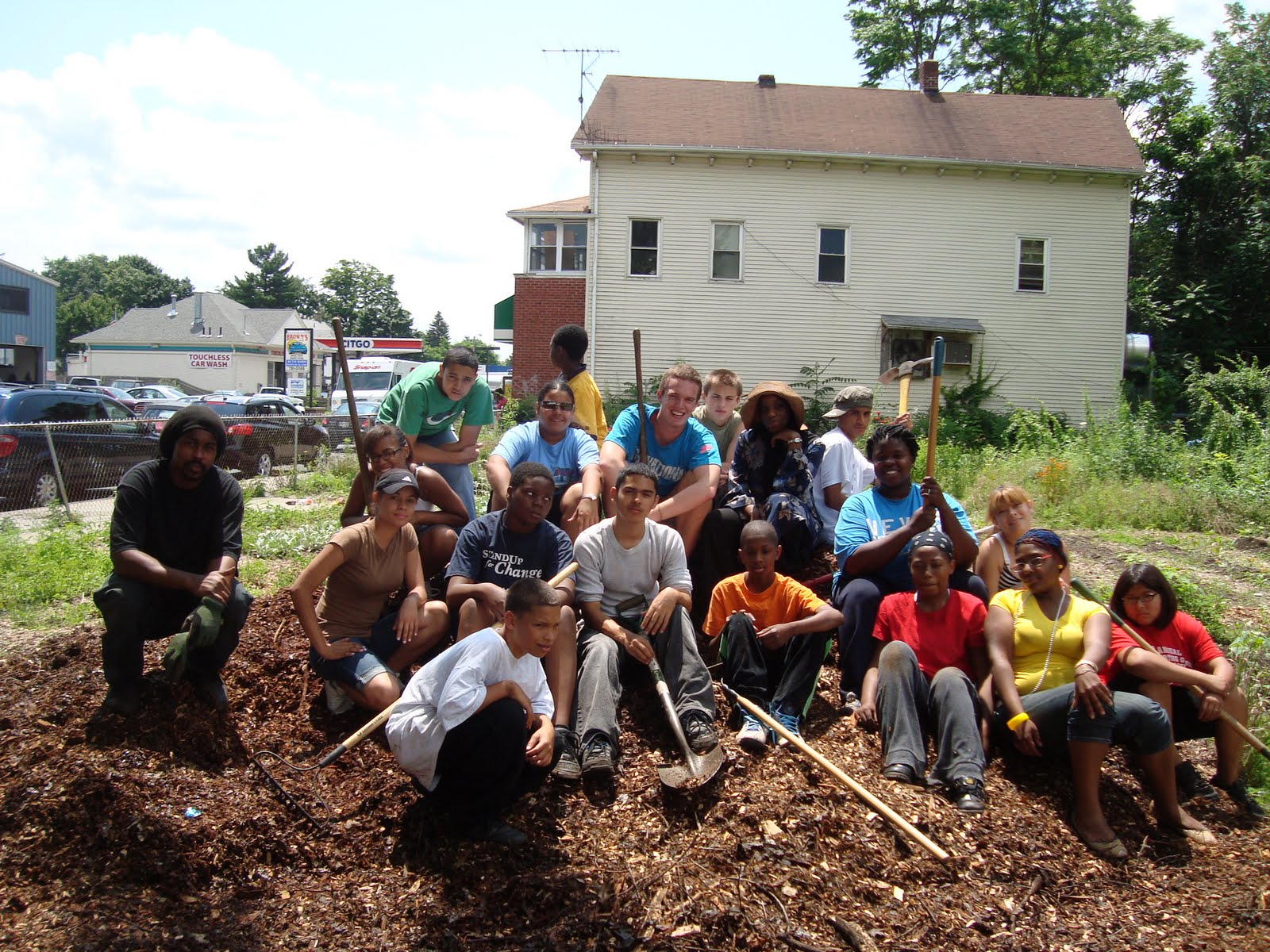 Volunteer work in a community garden.