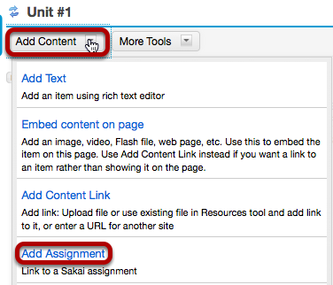 Image:Click Add Content, then Add Assignment.png