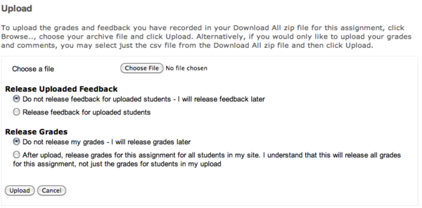 Uploading grades and feedback